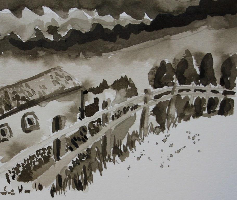 5 Tonwerte Landschaft Sepia Tusche (c) Zeichnung von Susanne Haun