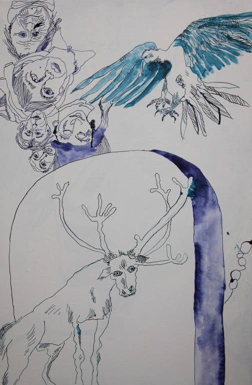 Entstehung der Leinwand Durch die offenen Tore fegen 90 x 60 cm (c) Zeichnung von Susanne Haun