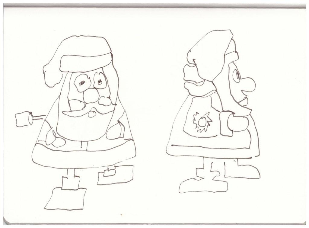4 Weihnachtsmänner (c) Zeichnung von Susanne Haun