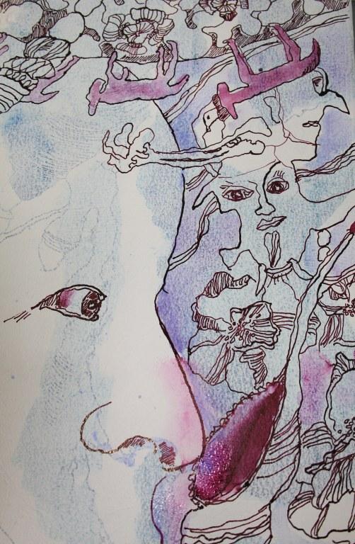 4 Detail - Erinnerung im Gestern - 60 x 80 cm - Tusche auf Leinwand (c) Zeichnung von Susanne Haun