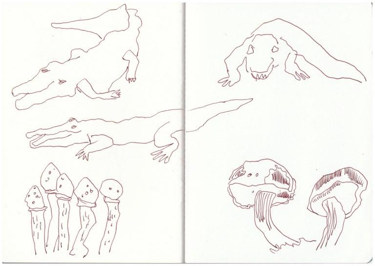 3 Bleigiessen Krokodile und Pilze (c) Zeichnung von Susanne Haun