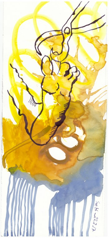 2 Dessen Füsse er mit Eisenzange kopfüber hielt - Tusche und Aquarell auf Büttenpapier - Version 1 (c) Zeichnung von Susanne Haun