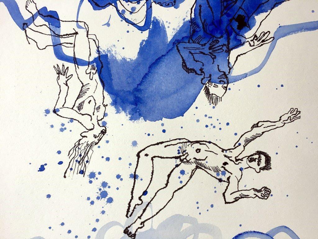 2 Detail Ihr schmachvoll Fortgejagten aus dem Himmel - 51 x 32 cm - Tusche und Aquarell auf Kuperdruckpapier (c) Zeichnung von  Susanne Haun