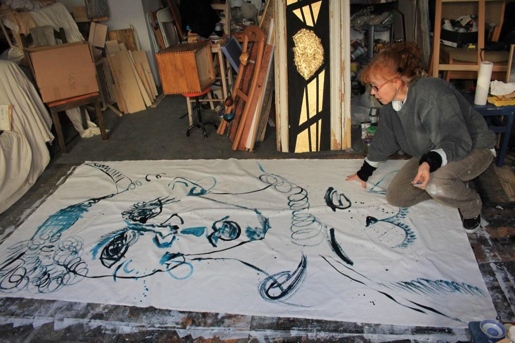 9 Arbeiten an - recto - Leinwand - 256 x 150 cm (c) Zeichnung von Susanne Haun