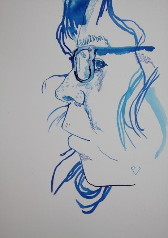 1. Etappe Portrait Selbst 8.4.2017 (c) Zeichnung von Susanne Haun
