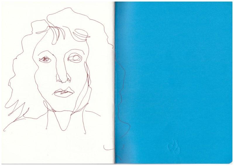 Ich im Badezimmerspiegel am Abend (c) Zeichnung von Susanne Haun