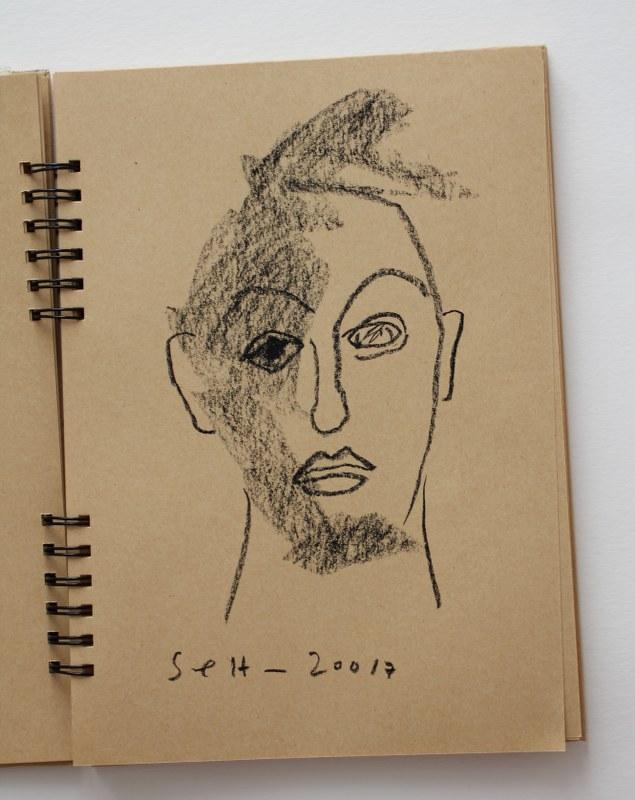 4 Selbstportrait mit Kreide im Badezimmerspiegel (c) Zeichnung von Susanne Haun