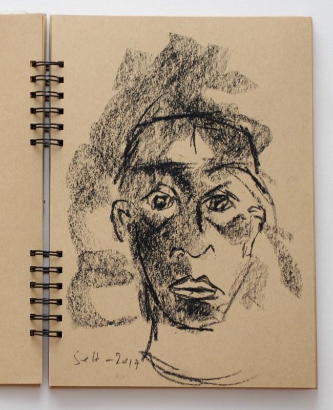 5 Selbstportrait mit Kreide im Badezimmerspiegel (c) Zeichnung von Susanne Haun