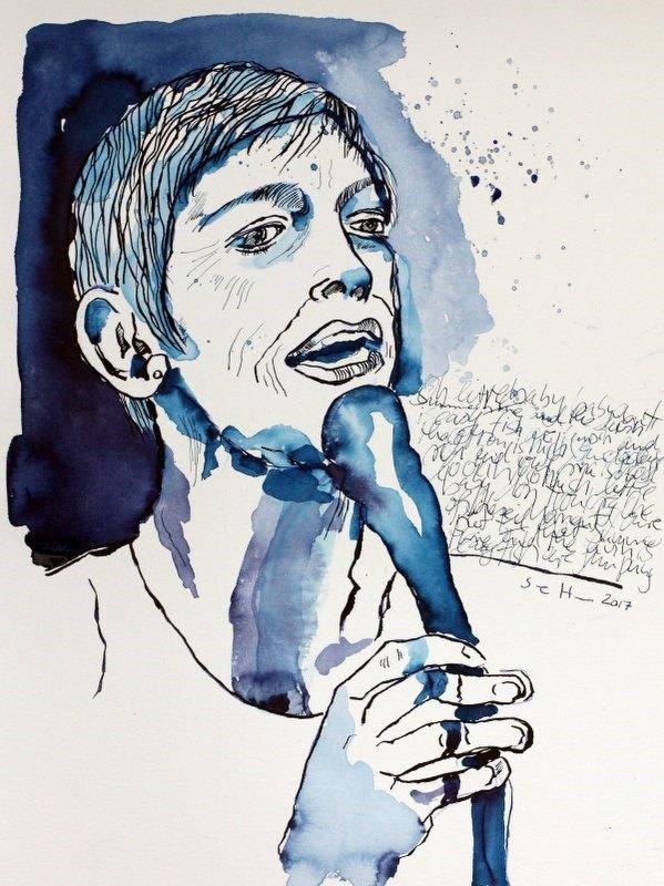 Mein Sinnbild von Annie Lennox - Version 4 - Tusche auf Aquarellkarton Burgund, 40 x 30 cm (c) Zeichnung von Susanne Haun