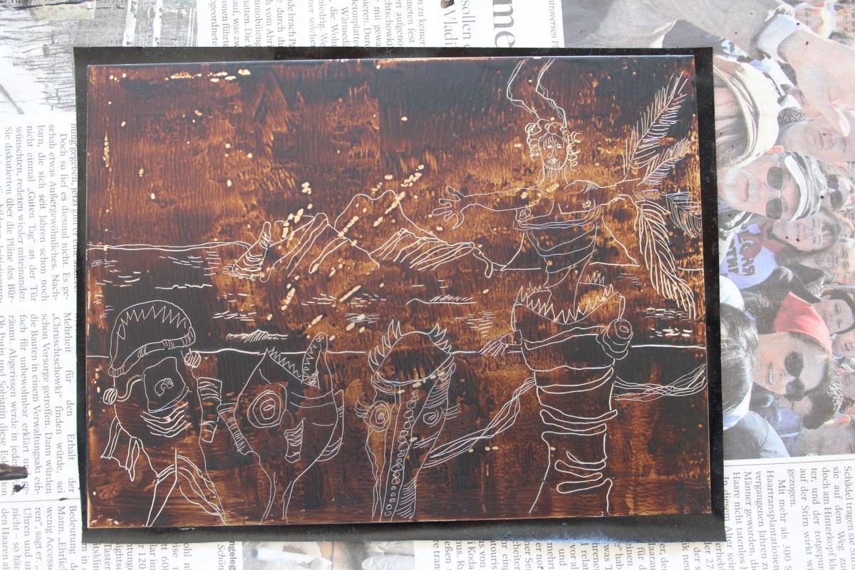 Ich zeichne Frei das Motiv Tulugaqs Weg zur Erkenntnis in den Wachs (c) Radierung und Foto von Susanne Haun
