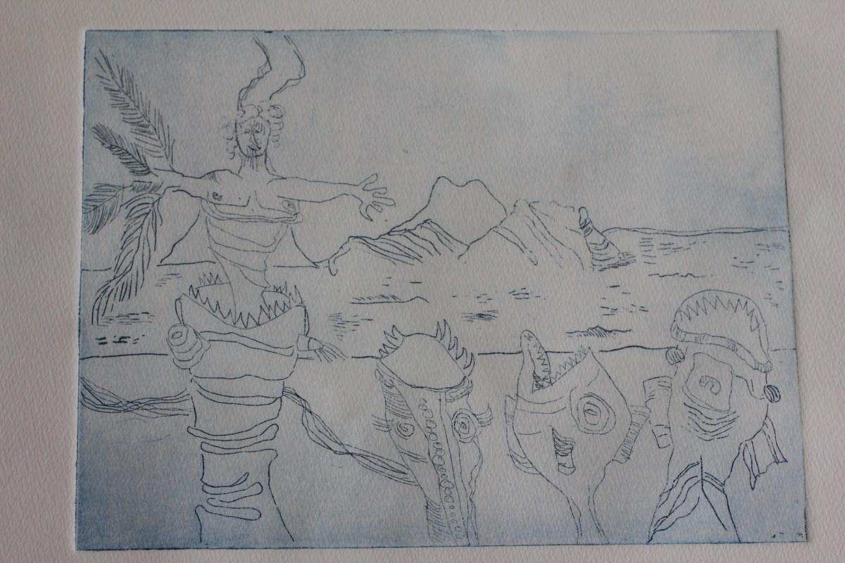 Tulugaqs Weg zur Erkenntnis - 10 x 15 cm (c) Radierung Strichätzung von Susanne Haun