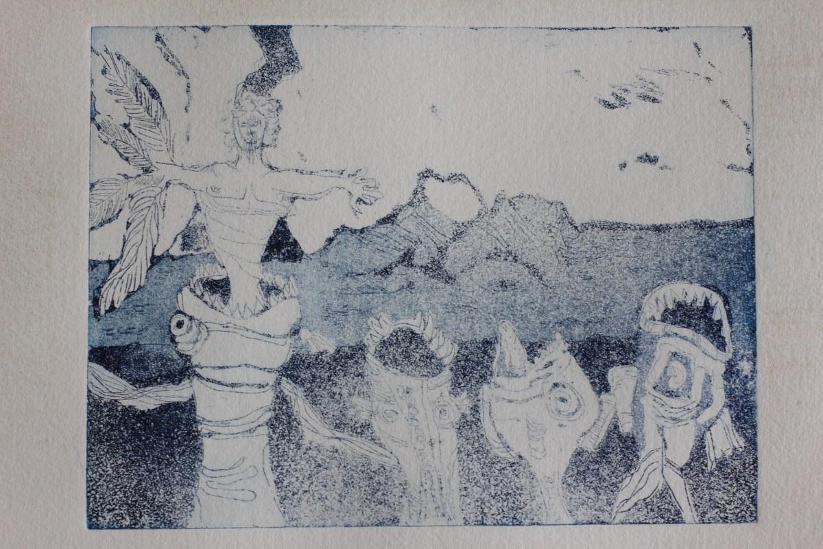 Tulugaqs Weg zur Erkenntnis - 10 x 15 cm (c) Aquatinta Radierung von Susanne Haun