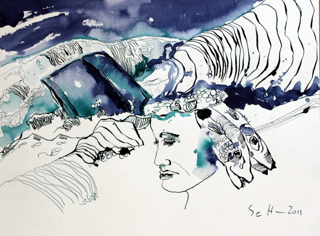 Sedna die Wellenhexe - Version 1 – 30 x 40 cm – Tusche auf Aquarellkarton (c) Zeichnung von Susanne Haun