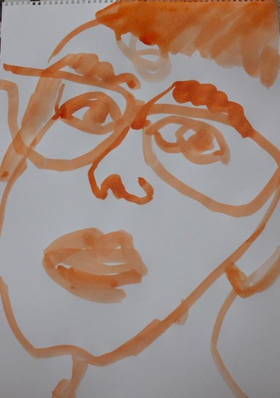Selbstportrait - zerstört - 60 x 40 cm - Tusche auf Skizzenpapier (c) Zeichnung von Susanne Haun