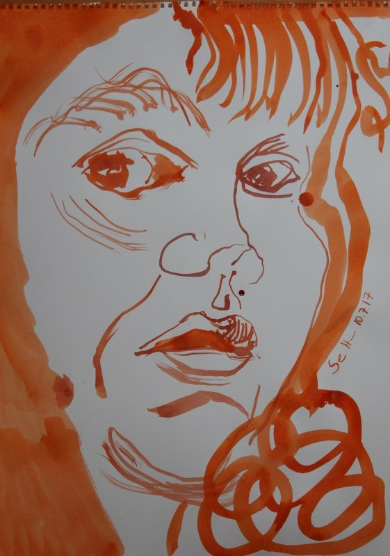 Selbstportrait - für Heike - 60 x 40 cm - Tusche auf Skizzenpapier (c) Zeichnung von Susanne Haun