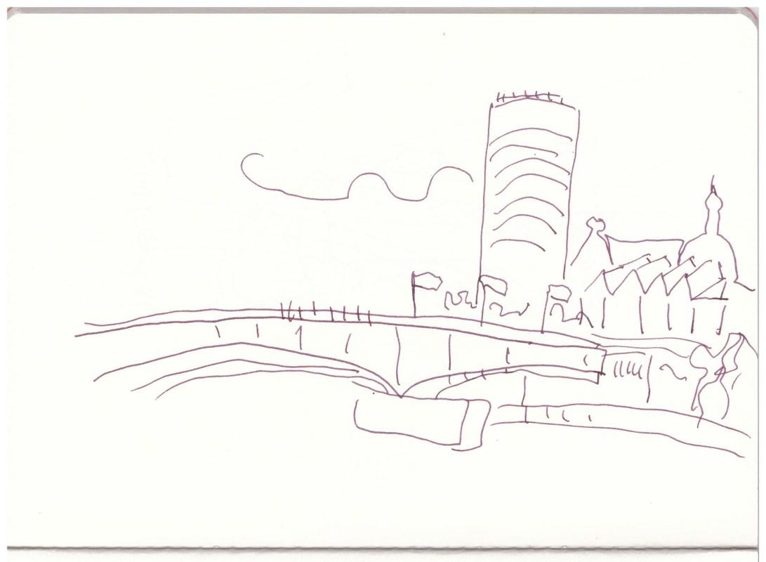 Köln - Blick über den Rhein (c) Zeichnung von Susanne Haun