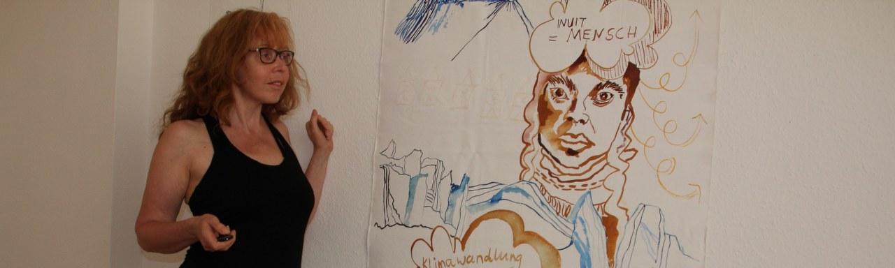 Sketchnote Arktis auf Leinwand 215 x 95 cm (c) Zeichnung von Susanne Haun