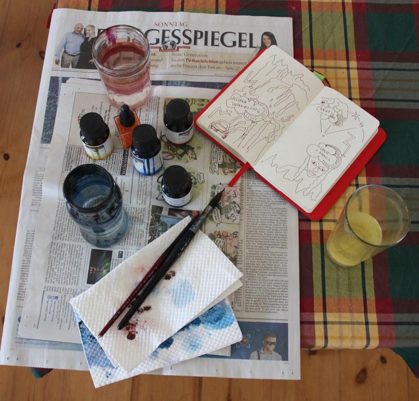 Vorbereitungen zum Zeichnen der Sketchnote Arktis auf Leinwand (c) Susanne Haun
