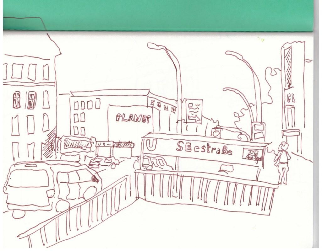 Müllerstrasse zum Alhambra hin (c) Zeichnung von Susanne Haun