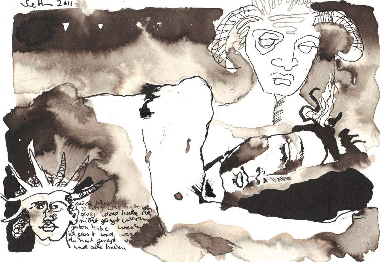 Dämonen erwachen nur kurz in der tiefsten Nacht (c) Zeichnung von Susanne Haun