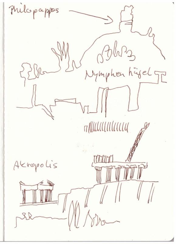 Athen - vom Dach des Akropolismuseums (c) Zeichnung von Susanne Haun