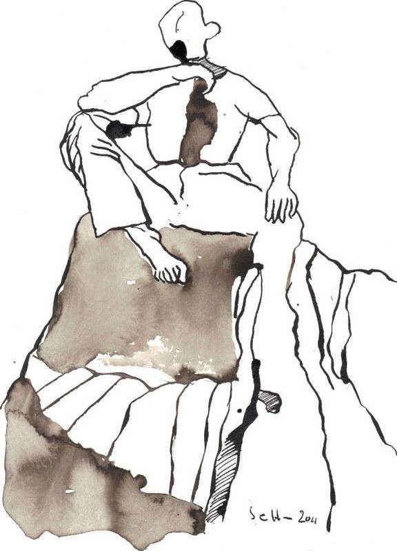 Sie sitzen nicht am Rande der Klippe (c) Zeichnung von Susanne Haun