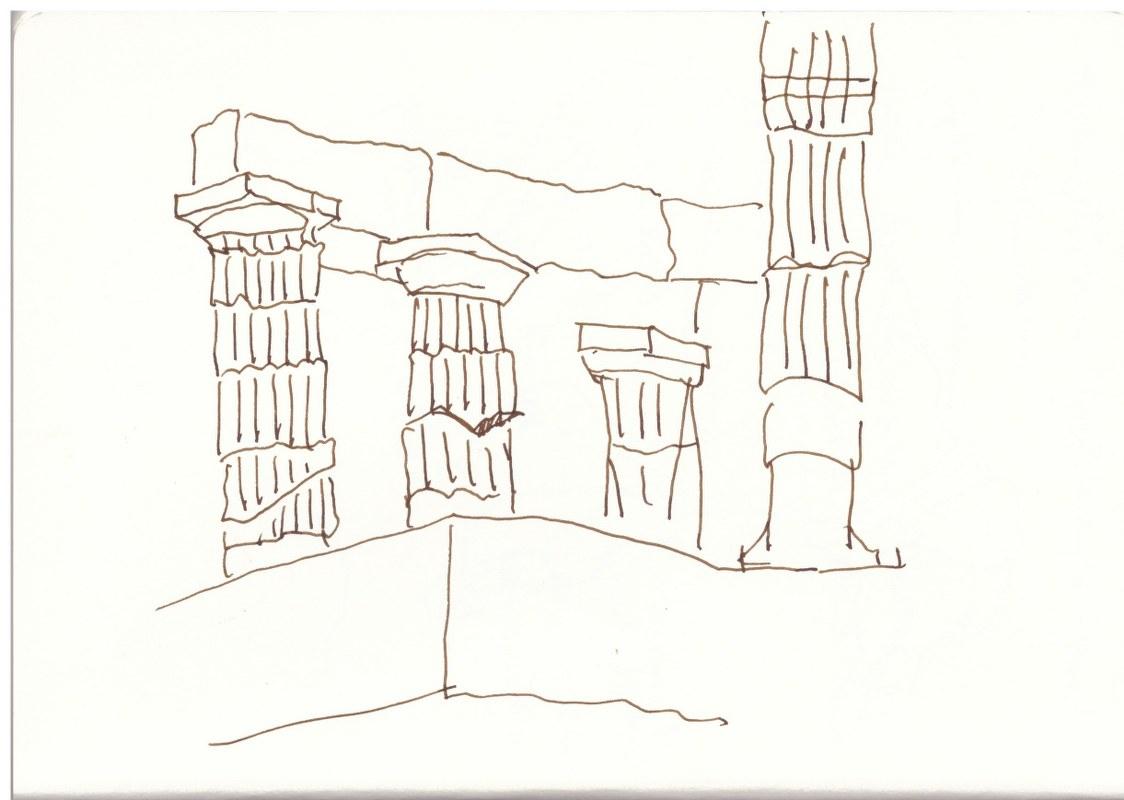 Poseidontempel (c) Zeichnung von Susanne Haun