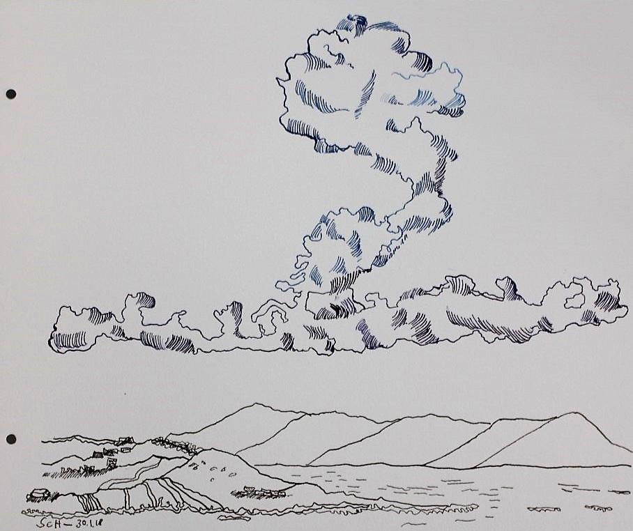 Der Himmel wartet, doch die Erde verlangt... - 30 x 40 cm - Tusche auf Aquarellkarton (c) Zeichnung von Susanne Haun (1)