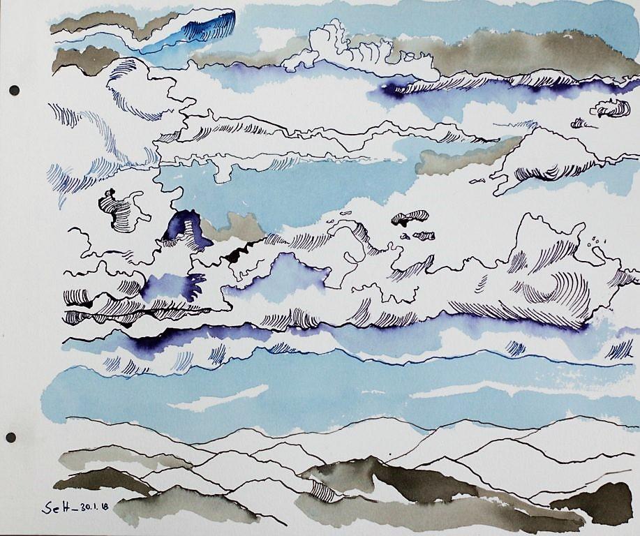 Der Himmel wartet, doch die Erde verlangt... - 30 x 40 cm - Tusche auf Aquarellkarton (c) Zeichnung von Susanne Haun (3)