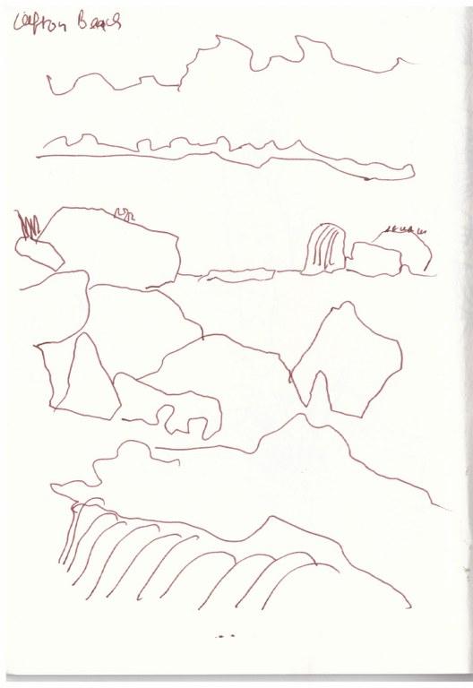 Afrika 1. Skizzenbuch - Kapstadt - von Green Point nach Cape Point (c) Zeichnung von Susanne Haun