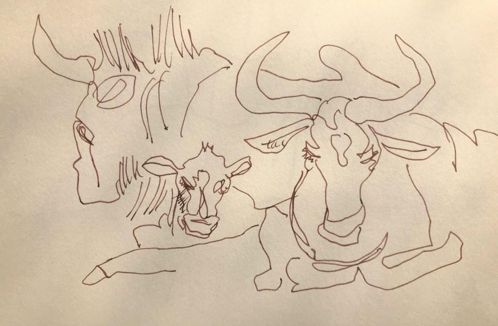 Ugly Five - Gnu (c) Zeichnung von Susanne Haun