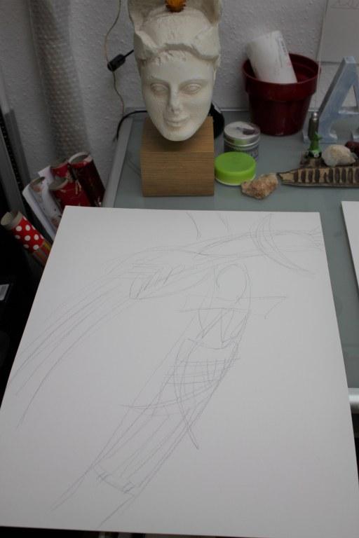 Arbeitsstand Serie 1 und 2 - Afrika - Bleistift auf Aquarellkarton - 50 x 65 cm (c) Zeichnung von Susanne Haun