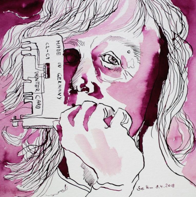 Ich - Printer Card - 25 x 25 cm - Tusche auf Hahnemühle Quadro Aquarellkarton (c) Zeichnung von Susanne Haun