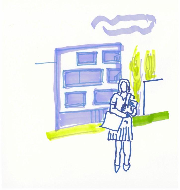 Ansatzstück Vor dem Rathaus (c) Zeichnung von Susanne Haun