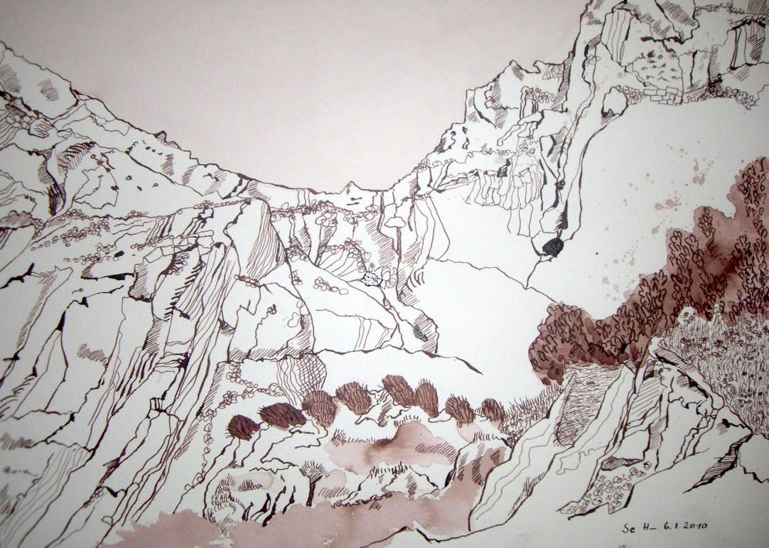 Der Seelenberg - Zeichnung von Susanne Haun - 26 x 36 cm - Tusche auf Bütten