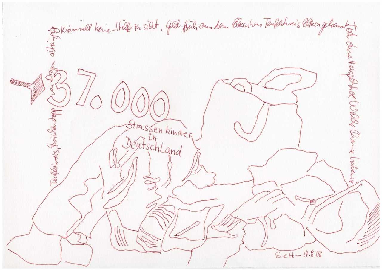 Obdachlos - 37.000 - 30 x 20 cm (c) Zeichnung von Susanne Haun