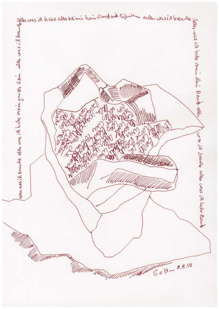 Obdachlos - Alles bei mir - 30 x 20 cm (c) Zeichnung von Susanne Haun