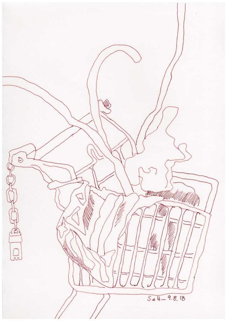 Obdachlos - Der fahrbare Schrank - 30 x 20 cm (c) Zeichnung von Susanne Haun