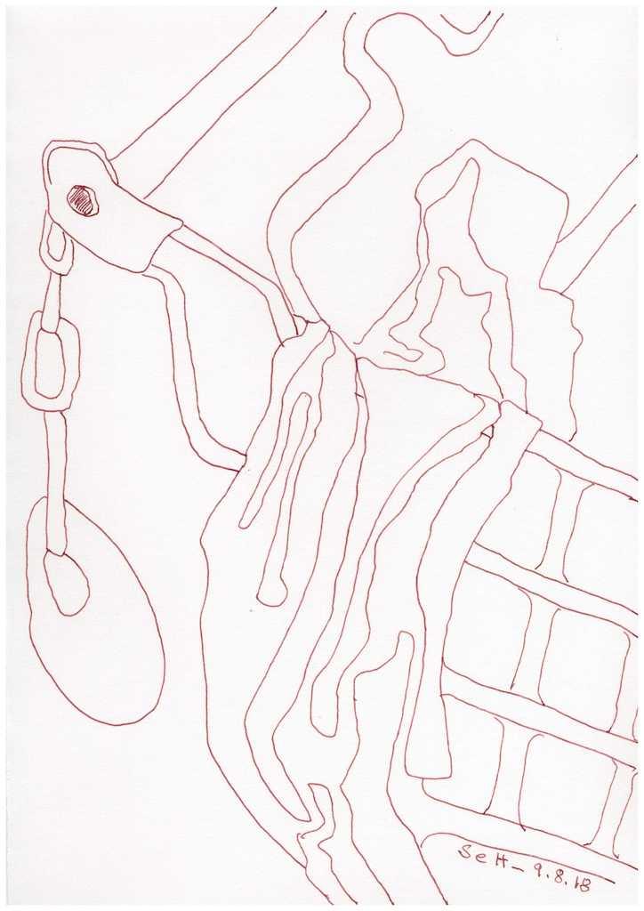Obdachlos - Der fahrbare Schrank - Version 2 - 30 x 20 cm (c) Zeichnung von Susanne Haun