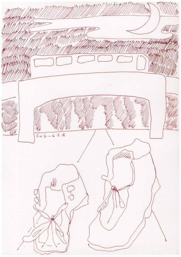 Obdachlos - Wie wichtig - Schuhe - 30 x 20 cm (c) Zeichnung von Susanne Haun