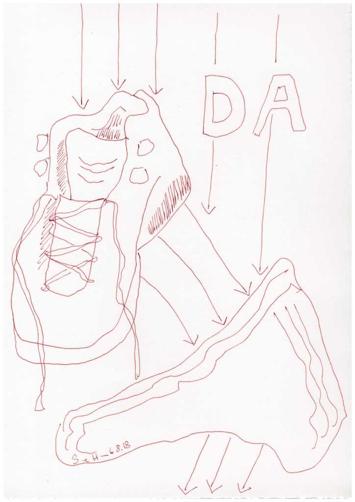 Obdachlos - Wie wichtig - Schuhe - Version 2 - 30 x 20 cm (c) Zeichnung von Susanne Haun