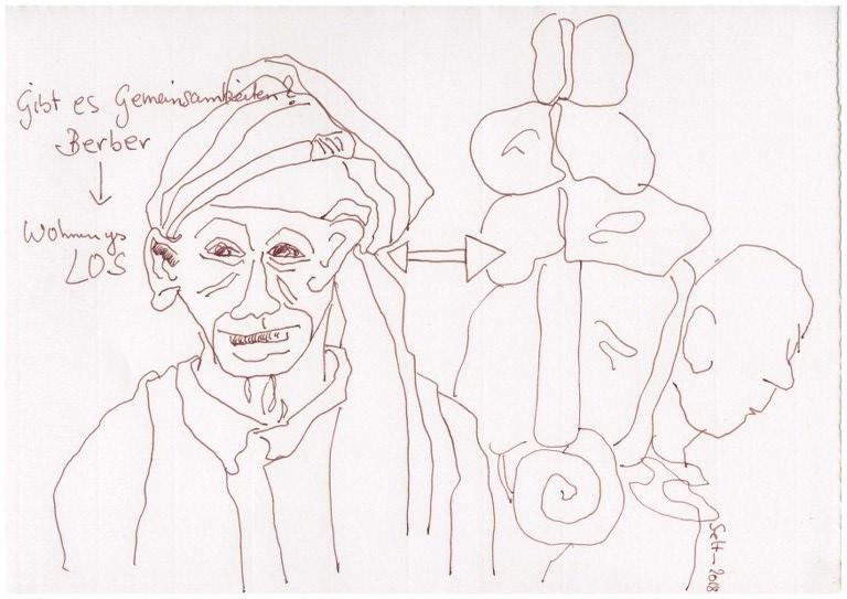 Wohnungslos - Berber, 20 x 30 cm, Zeichnung von Susanne Haun (c) VG Bild Kunst, Bonn 2018