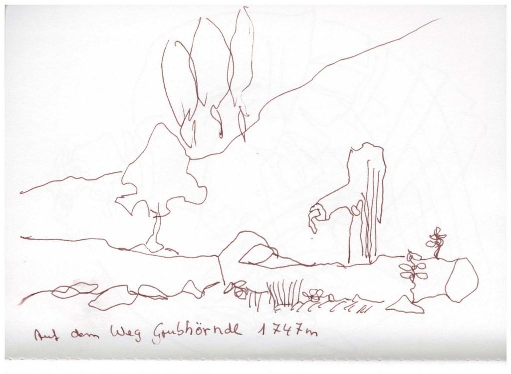 Skizzenbuch Lofer 8.9. - 15.9.2018 - Zeichnung von Susanne Haun (c) VG Bild-Kunst , Bonn 2018