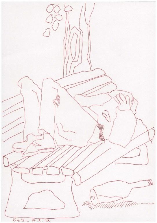 Auf der Bank - Obdachlos - 30 x 40 cm - Zeichnung von Susanne Haun (c) VG Bild Kunst, Bonn 2018