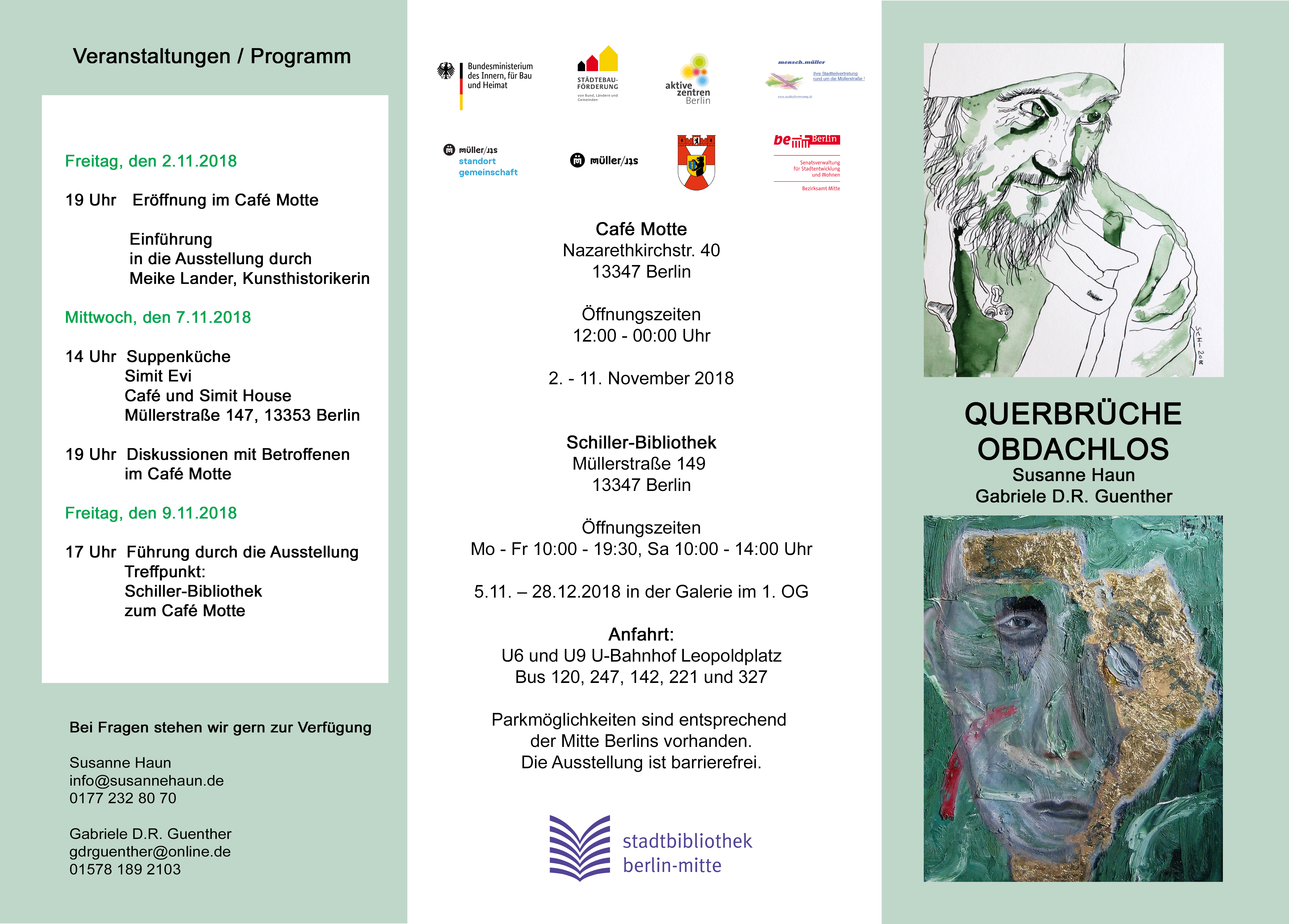 Einladung Querbrüche Obdachlos Susanne Haun und Gabriele D.R. Guenther