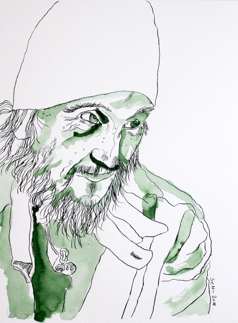 Jörg - seit 15 Jahren vor Karstadt - 30 x 40 cm - Tusche auf Hahnemühle Auqarellkarton - Zeichnung von Susanne Haun (c) VG Bild Kunst, Bonn 2018