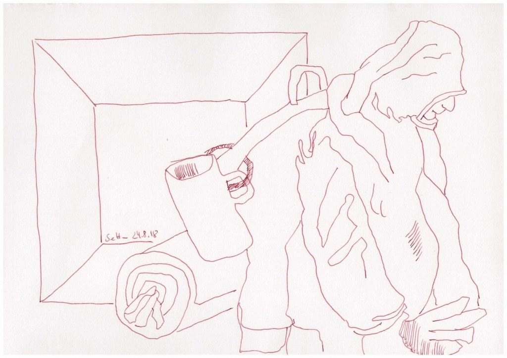 Obdachlos - als Berber unterwegs - 20 x 30 cm - Zeichnung von Susanne Haun (c) VG Bild Kunst, Bonn 2018