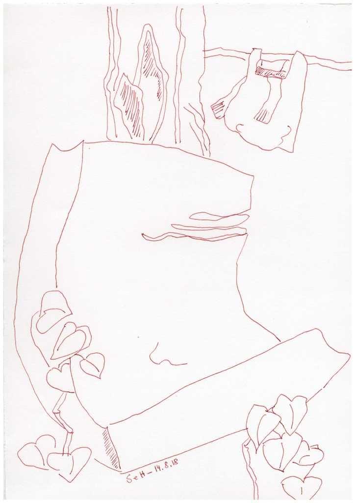 Obdachlos - Ein Platz zum Schlafen - Version 7 - Zeichnung von Susanne Haun (c) VG Bild Kunst, Bonn 2018