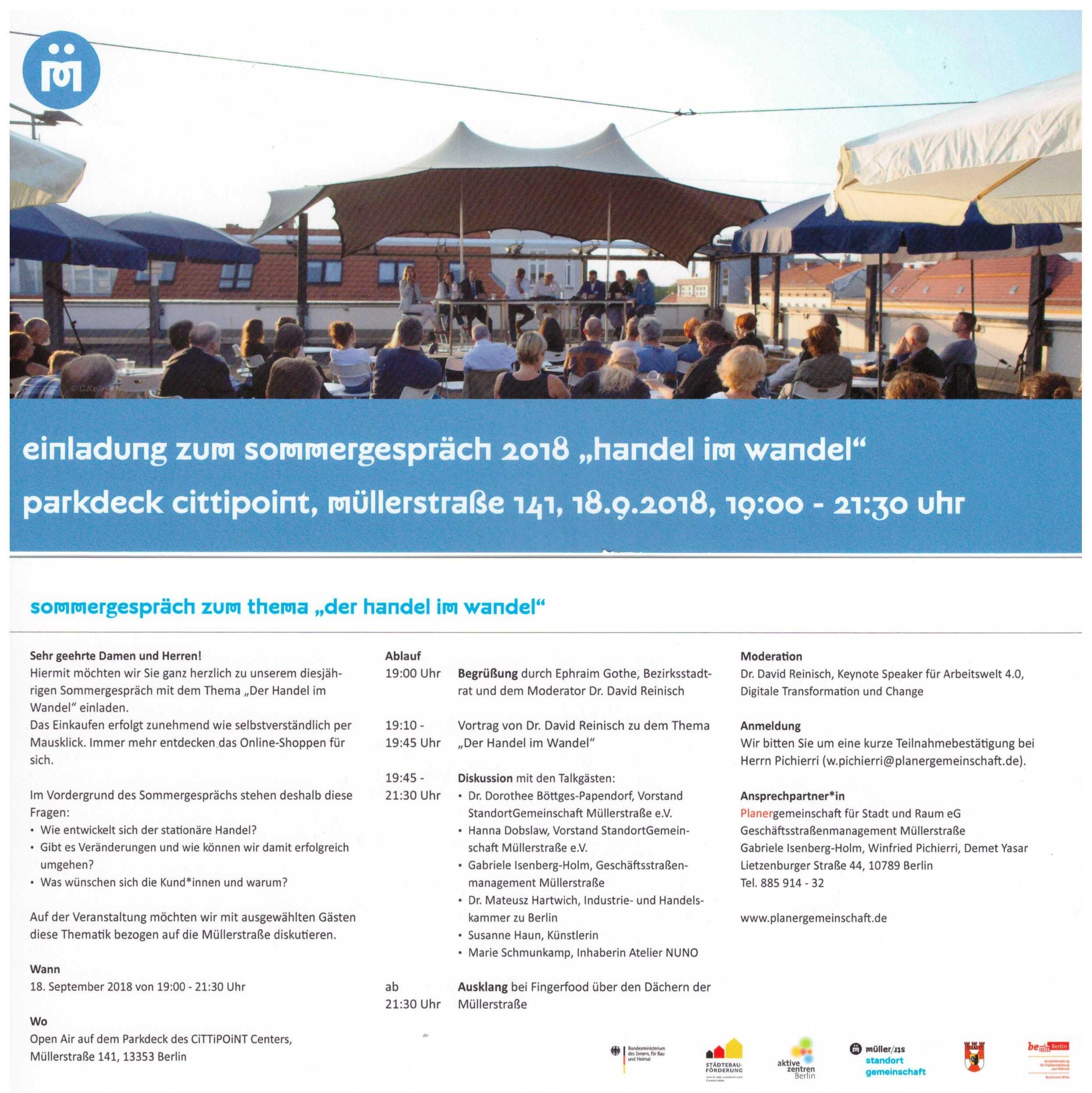 Sommergespräch 2018 - Bezirksamt Mitte  - StandortGemeinschaft Müllerstrasse e.V. - Planergemeinschaft für Stadt und Raum eG