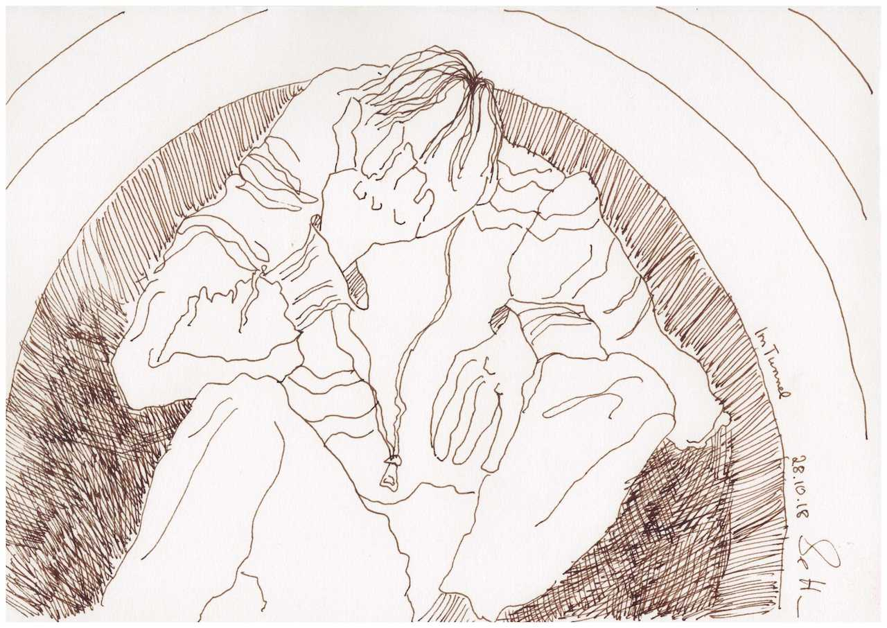 Obdachlos - Im Tunnel - Zeichnung von Susanne Haun - 20 x 30 cm (c) VG Bild Kunst, Bonn 2018
